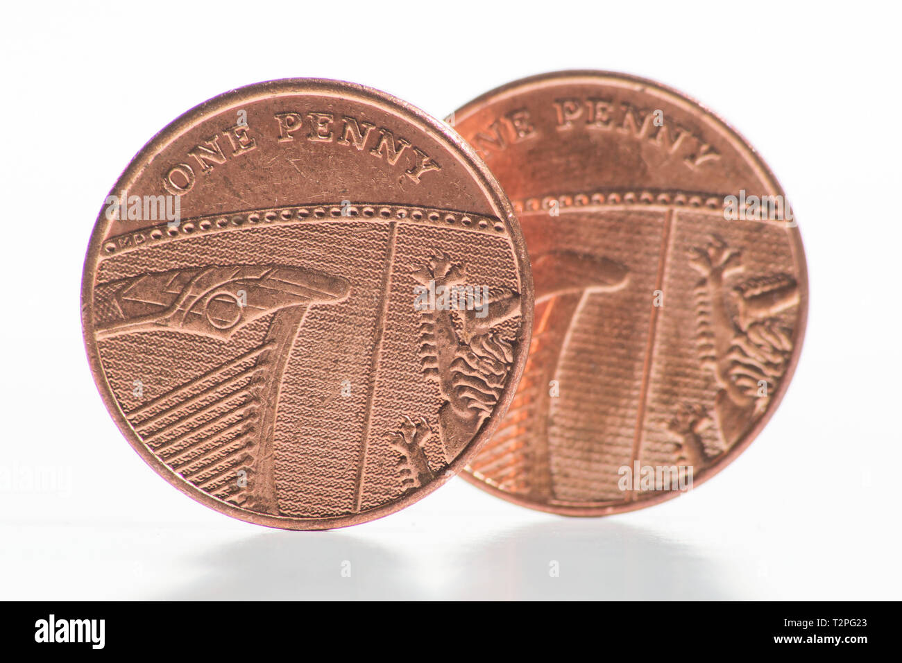 Coins. The One Pence Piece.  This is the smallest denomination in the Sterling currency. Stock Photo