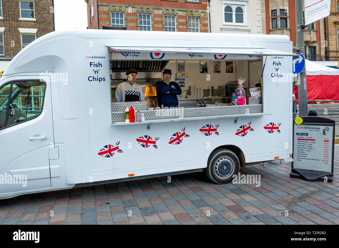 Codroephenia Fish and Chip van outside the Market in Darlington Co. Durham England UK Stock Photo