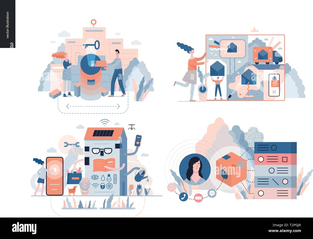 Technology 3 set - modern flat vector concept digital illustration- Marketing Promotion, Solution, Intelligent building, CRM Customer Relationship Man - Stock Image