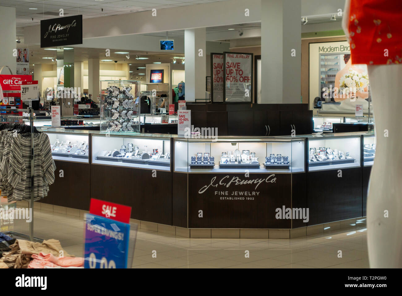 J.C. Penny's department store fine jewelry display case indoors. USA. - Stock Image