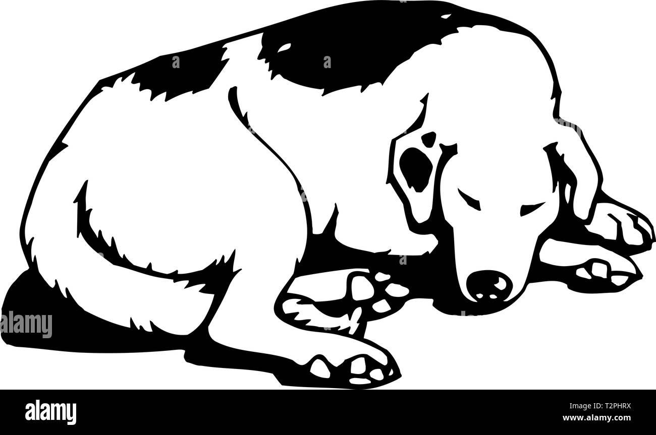 Sleeping Dog Illustration - Stock Vector