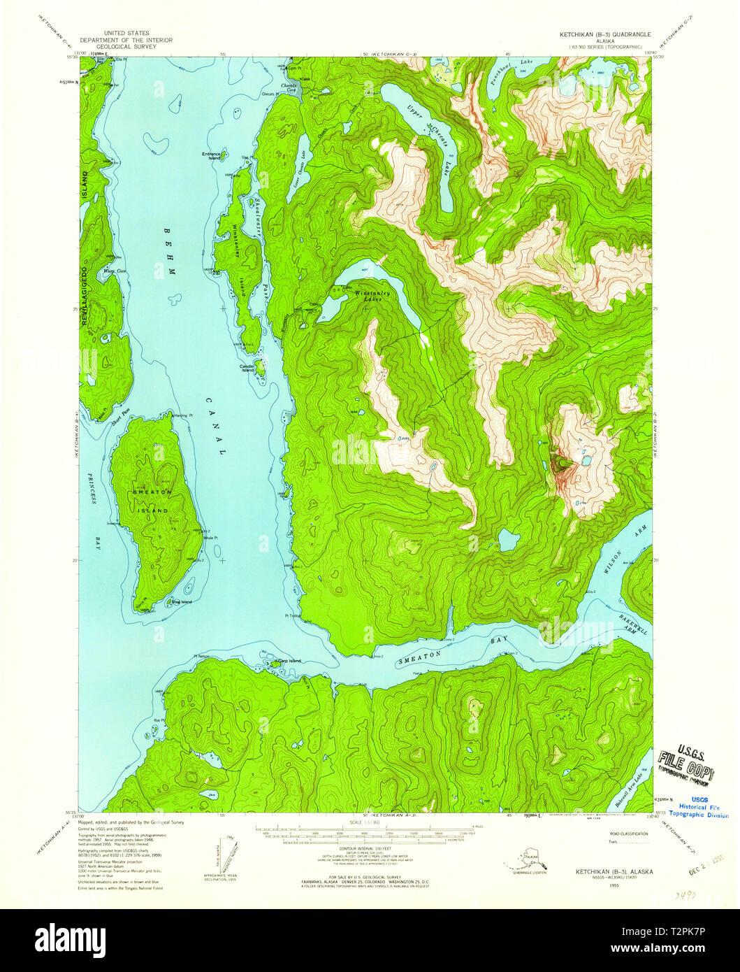 USGS TOPO Map Alaska AK Ketchikan B-3 356686 1955 63360 Restoration Ketchikan Map on sitka map, glacier bay map, chevak map, metlakatla map, skagway walking map, alaska map, superior map, juneau map, nanwalek map, anchorage map, lake and peninsula borough map, tongass national forest map, chitina map, tin city map, bethel map, kobuk map, prince william sound map, north pole map, london map, unalakleet map,