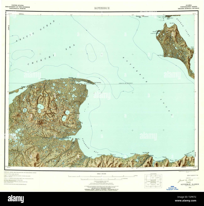 USGS TOPO Map Alaska AK Kotzebue 361067 1951 250000 ...