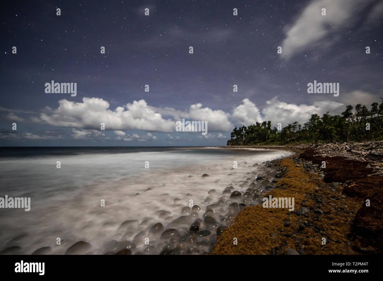 Coastline at night, La Plaine, Dominica, Caribbean - Stock Image
