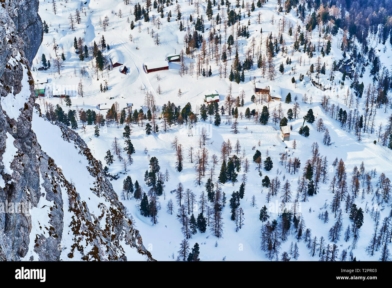 The snowy slope of Krippenstein mountain is covered with coniferous forest and the wooden houses of the small village, Obertraun, Salzkammergut, Austr Stock Photo