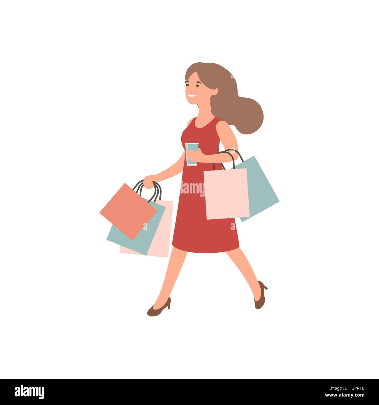 7256b732c4e Happy girl with shopping. Woman holding shopping bags. Female ...
