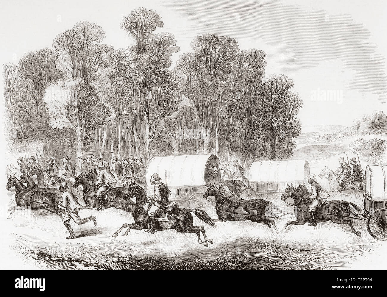 The last days of the Confederate Government, the conclusion of the American Civil War.  A sudden alarm and stampede, the flight of Confederate soldiers before the advance of the Federal Cavalry.  From The Illustrated London News, published 1865. - Stock Image