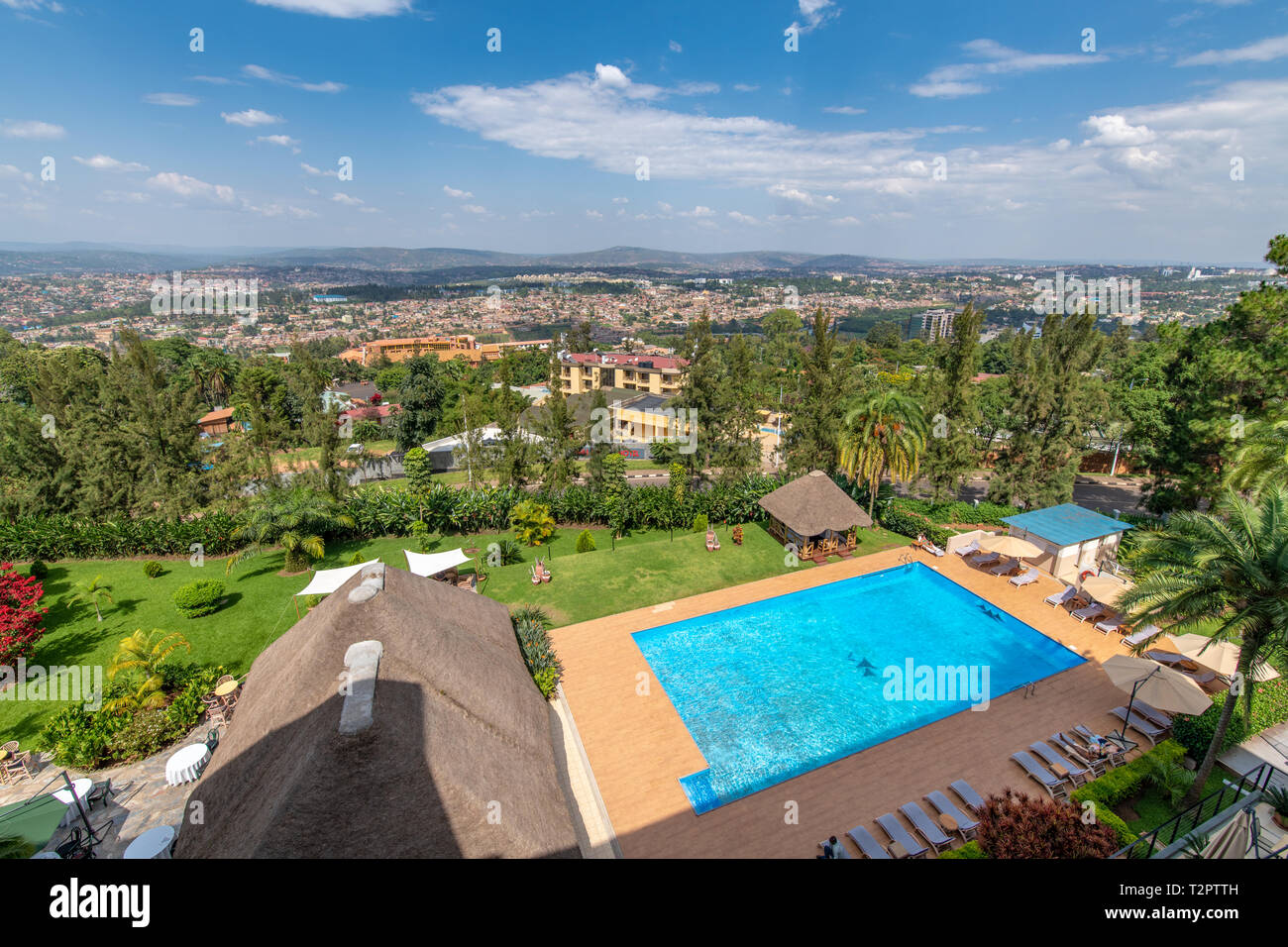 The rear pool of the Hotel des Mille Collines (Hotel Rwanda), Kigali, Rwanda. - Stock Image