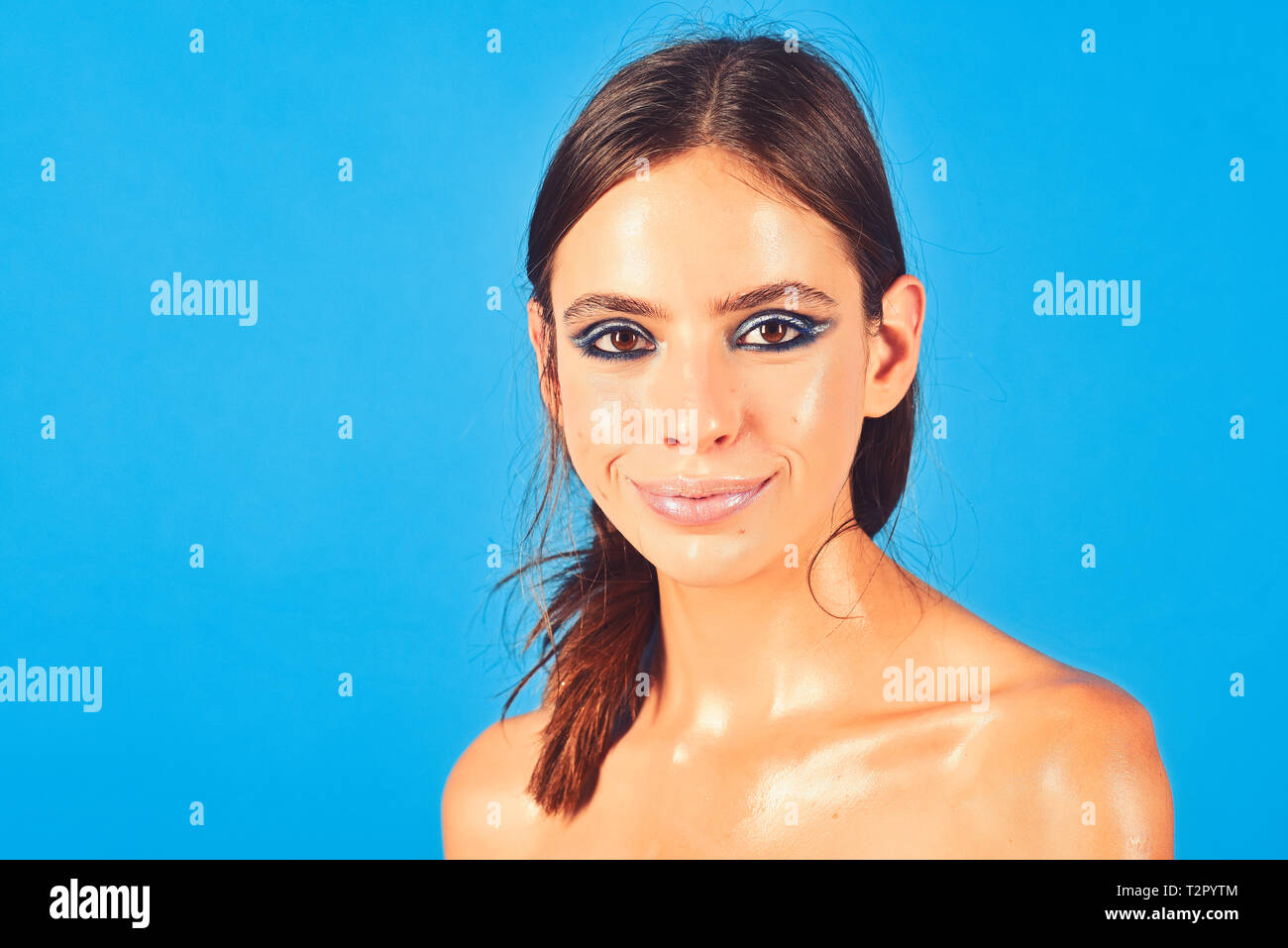Woman Smile With Oily Skin Face Shoulders Skincare Woman With Makeup Long Brunette Hair Beauty Skincare Treatment Therapy Beauty Look Youth Stock Photo Alamy