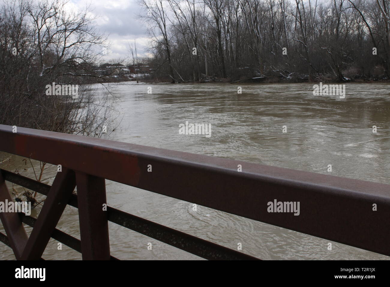 view from a bridge in Canada showing a depressing day - Stock Image