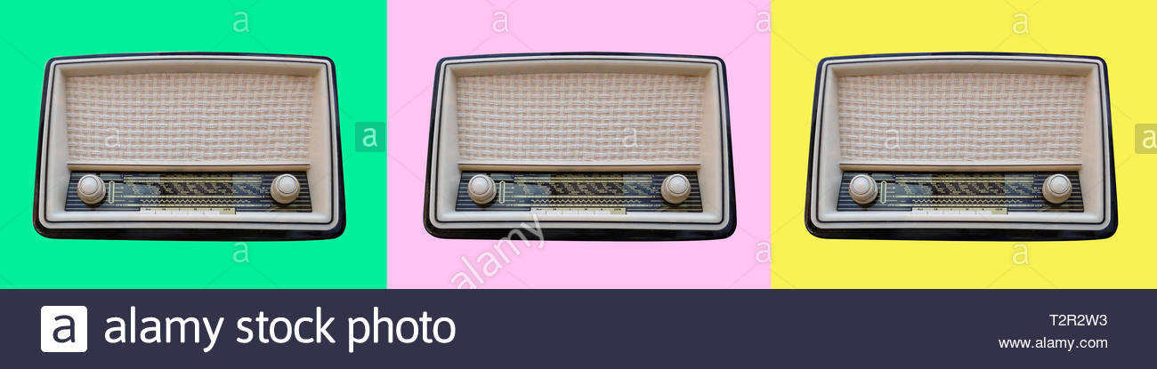 Funky hipster poster with three 1950's retro vintage radio with turning knobs and speaker on a pastel mint pink yellow background - Stock Image