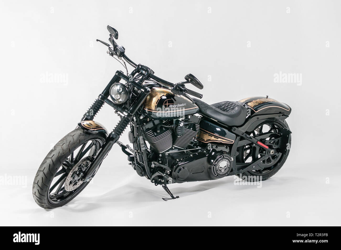 Warsaw, Poland, March 01, 2019: Polish Custom Show.  Presentation of custom designed motorcycles in category Modified Harley - Stock Image