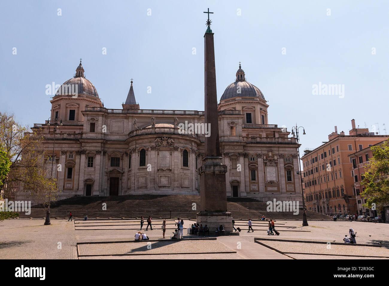 The Basilica di Santa Maria Maggiore, Basilica of Saint Mary Major, built under Celestine I (422–432) as a papal Basilica now of diplomatic immunity. - Stock Image