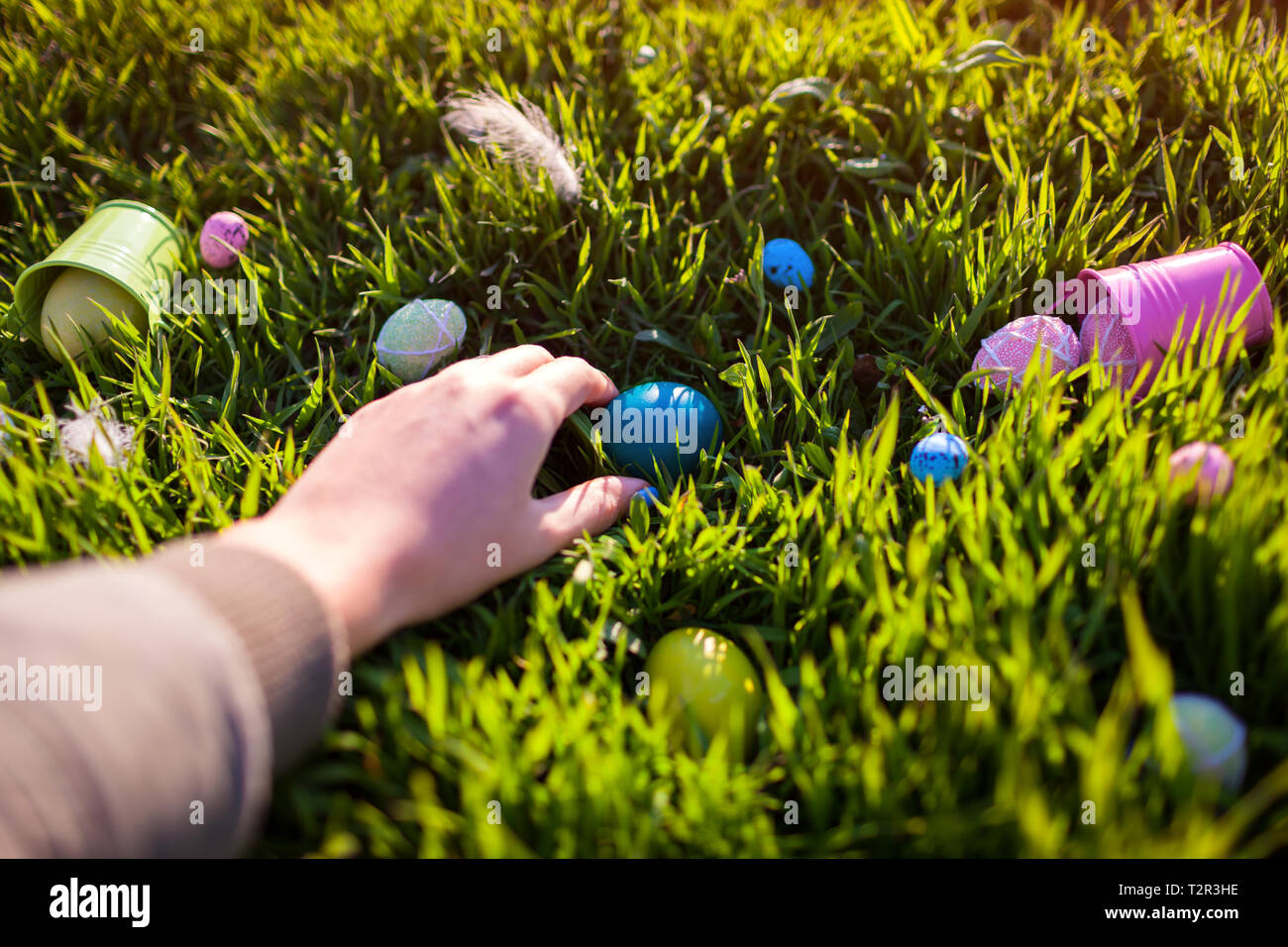 Happy Easter Easter Eggs Hidden In Spring Grass Woman Holding