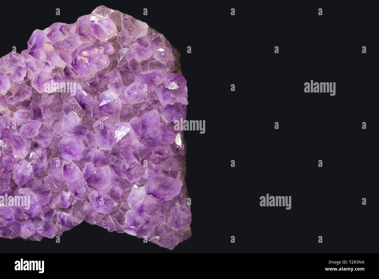 Large piece of living raw amethyst at the minerals exhibition isolated on black background - Stock Image