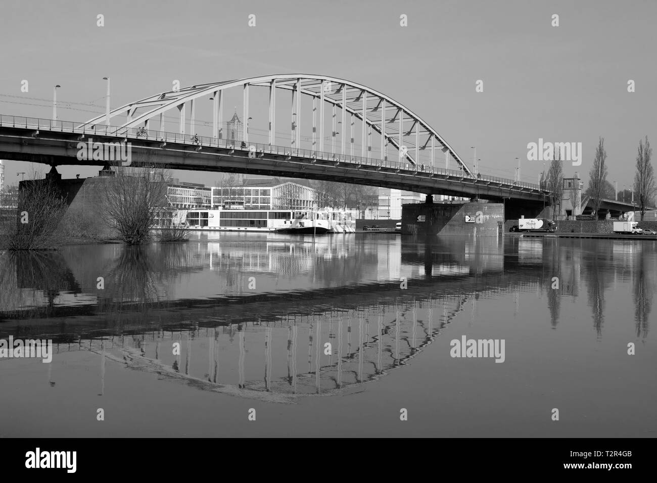 John Frost Bridge over Lower Rhine in Arnhem black white Stock Photo