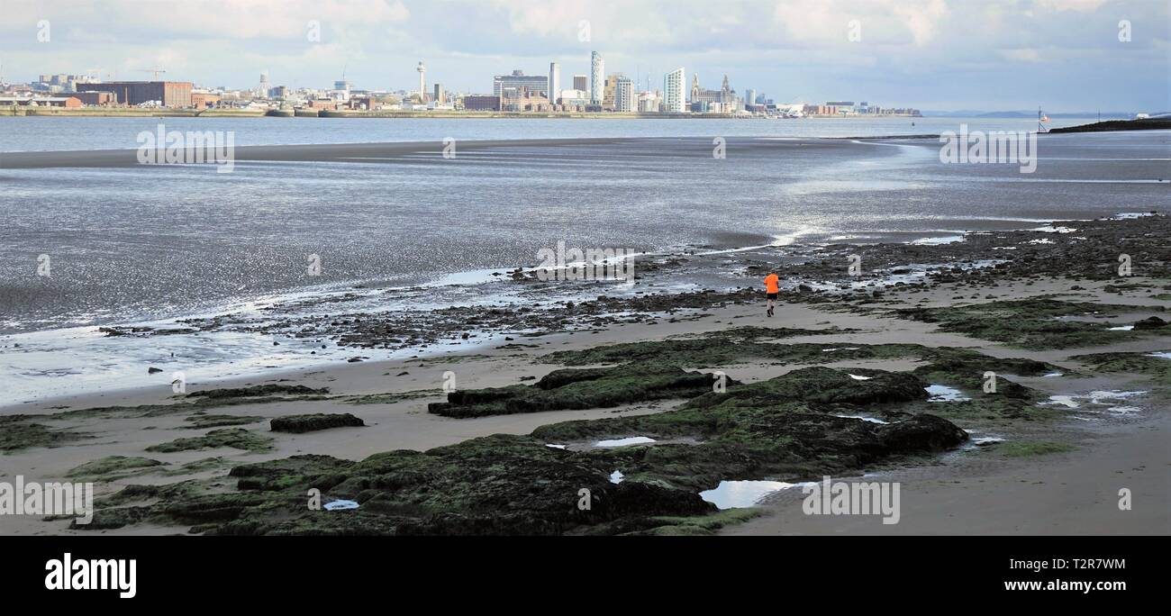 View Of Liverpool From New Brighton. - Stock Image