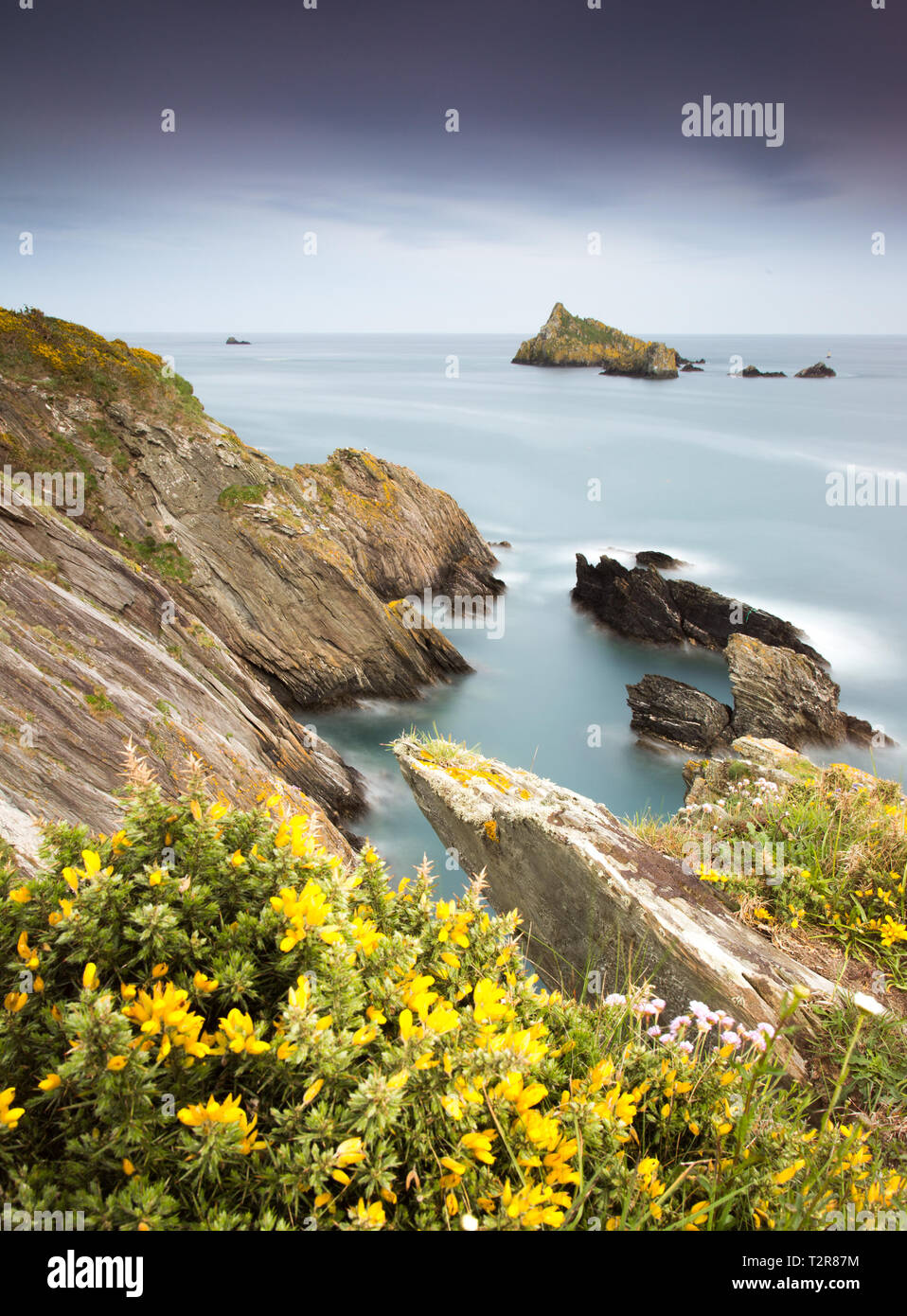 A long exposure at Froward point on Devons South Hams - Stock Image