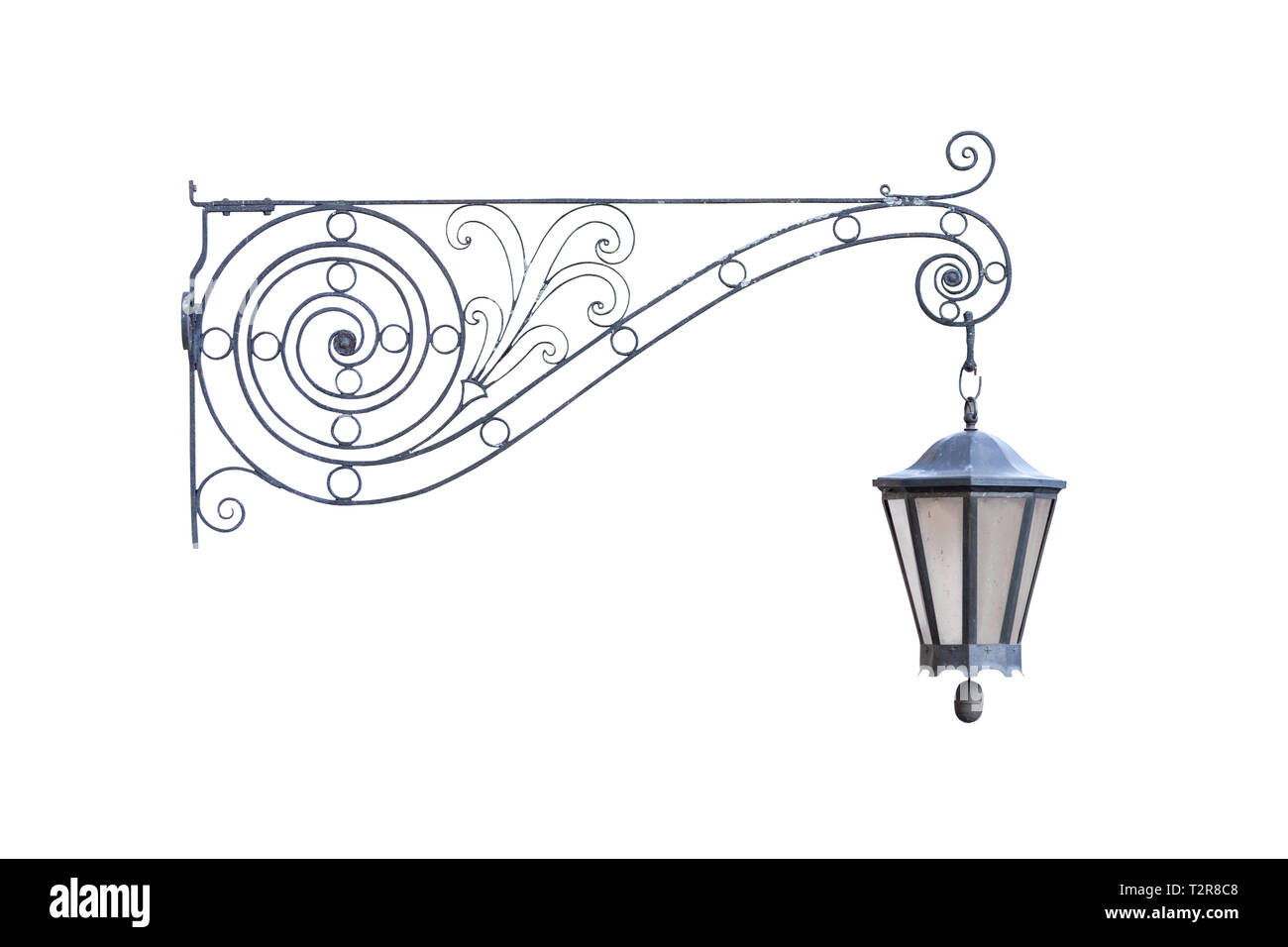 Old vintage decorative hanging street lamp isolated on white background, real picture, front view of one cut out object Stock Photo