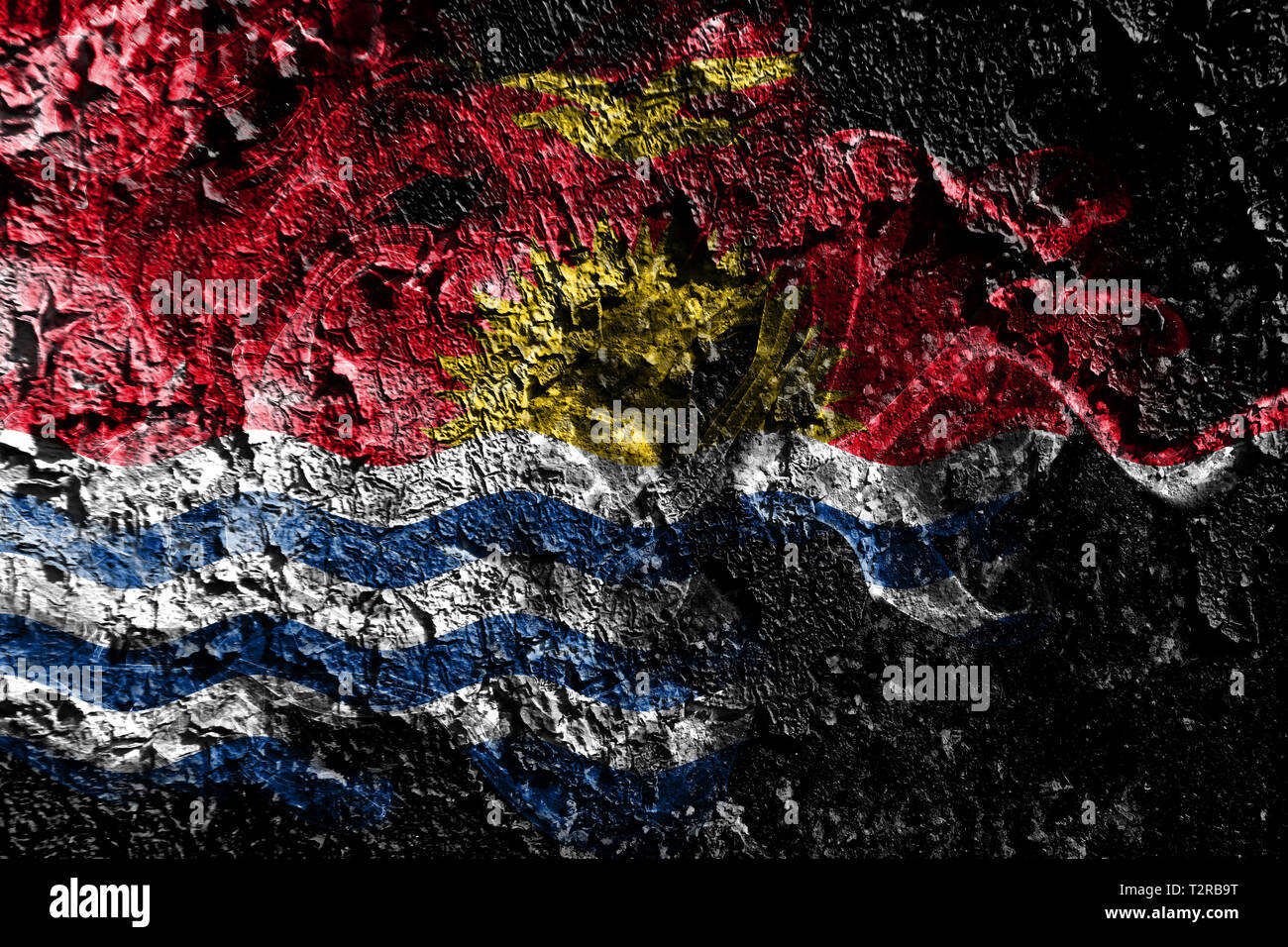 Kiribati smoky mystical flag on the old dirty wall background - Stock Image