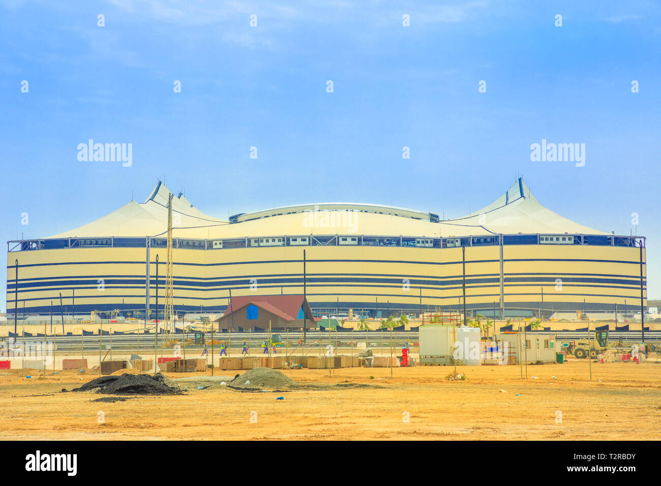 Al Khor, Qatar - February 23, 2019: closeup of At Bayt Stadium with work in progress, in Al Khor City, one of 12 venues used in 2022 FIFA World Cup. C - Stock Image
