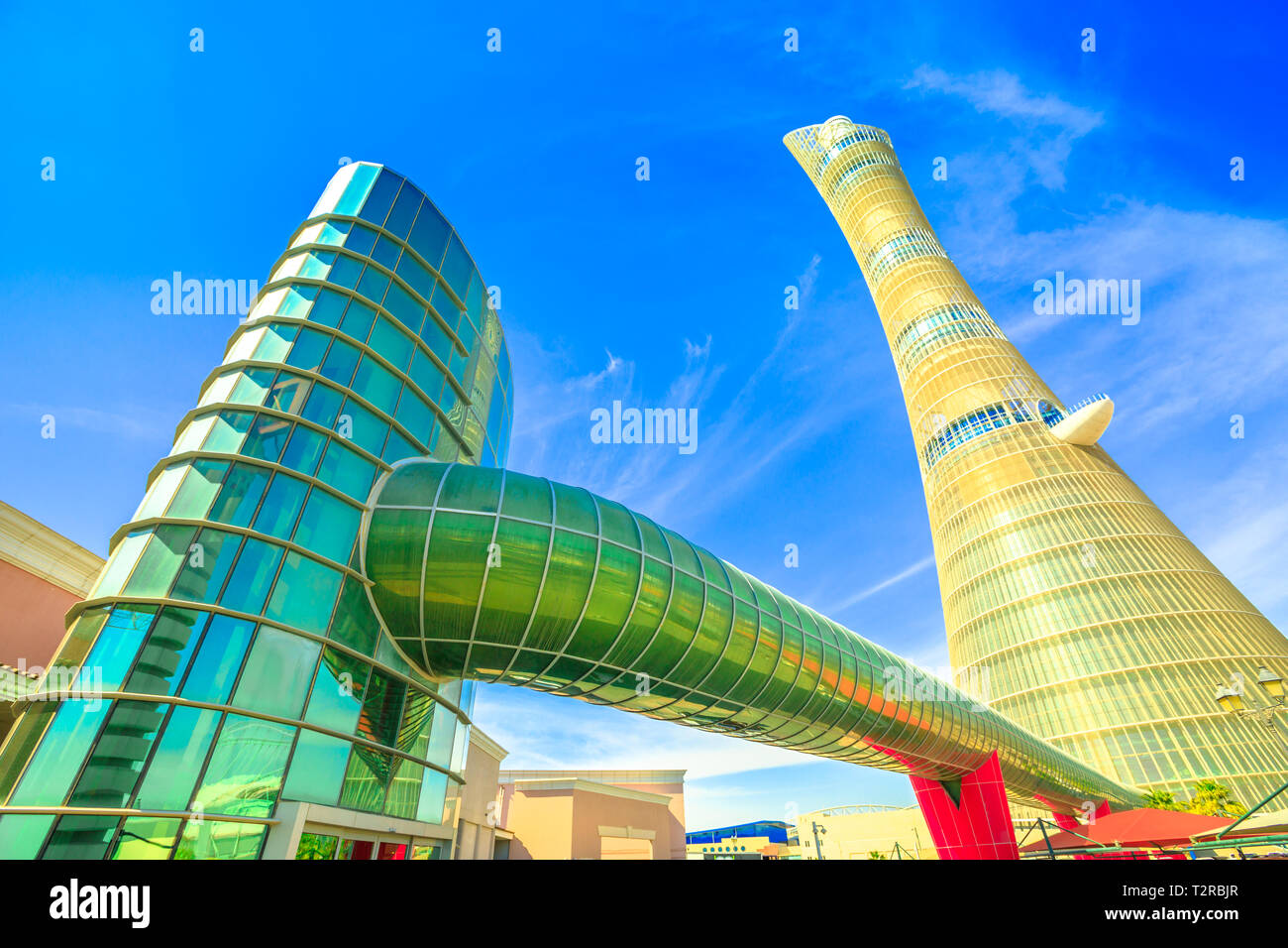 Doha, Qatar - February 21, 2019: Aspire Tower or The Torch Doha
