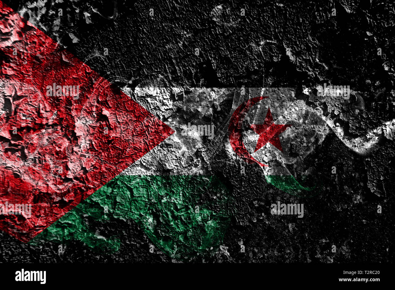 Sahrawi smoky mystical flag on the old dirty wall background - Stock Image