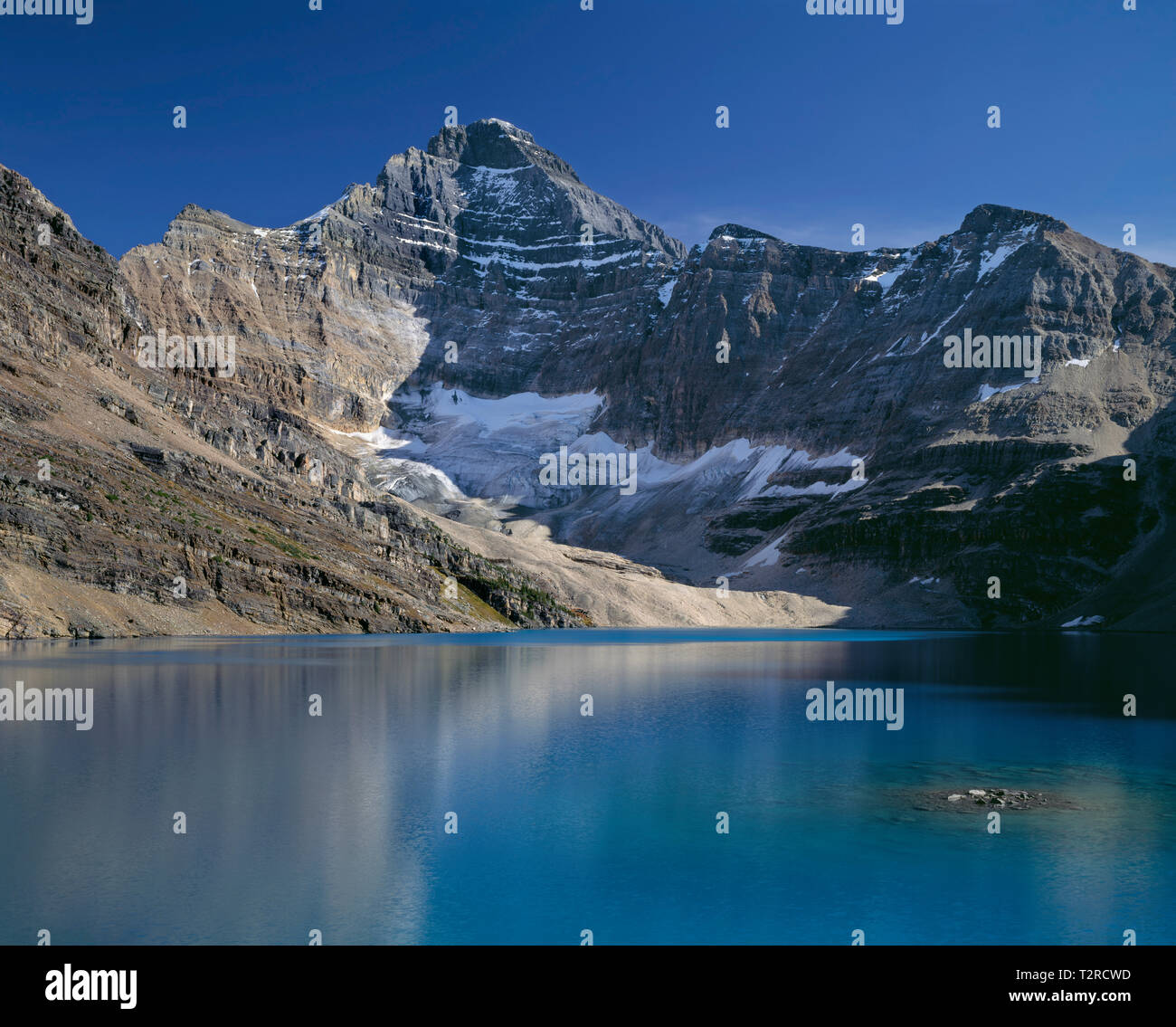 Canada British Columbia Yoho National Park Mt Biddle Towers Above The Turquoise Water Of Lake Mcarthur Stock Photo Alamy