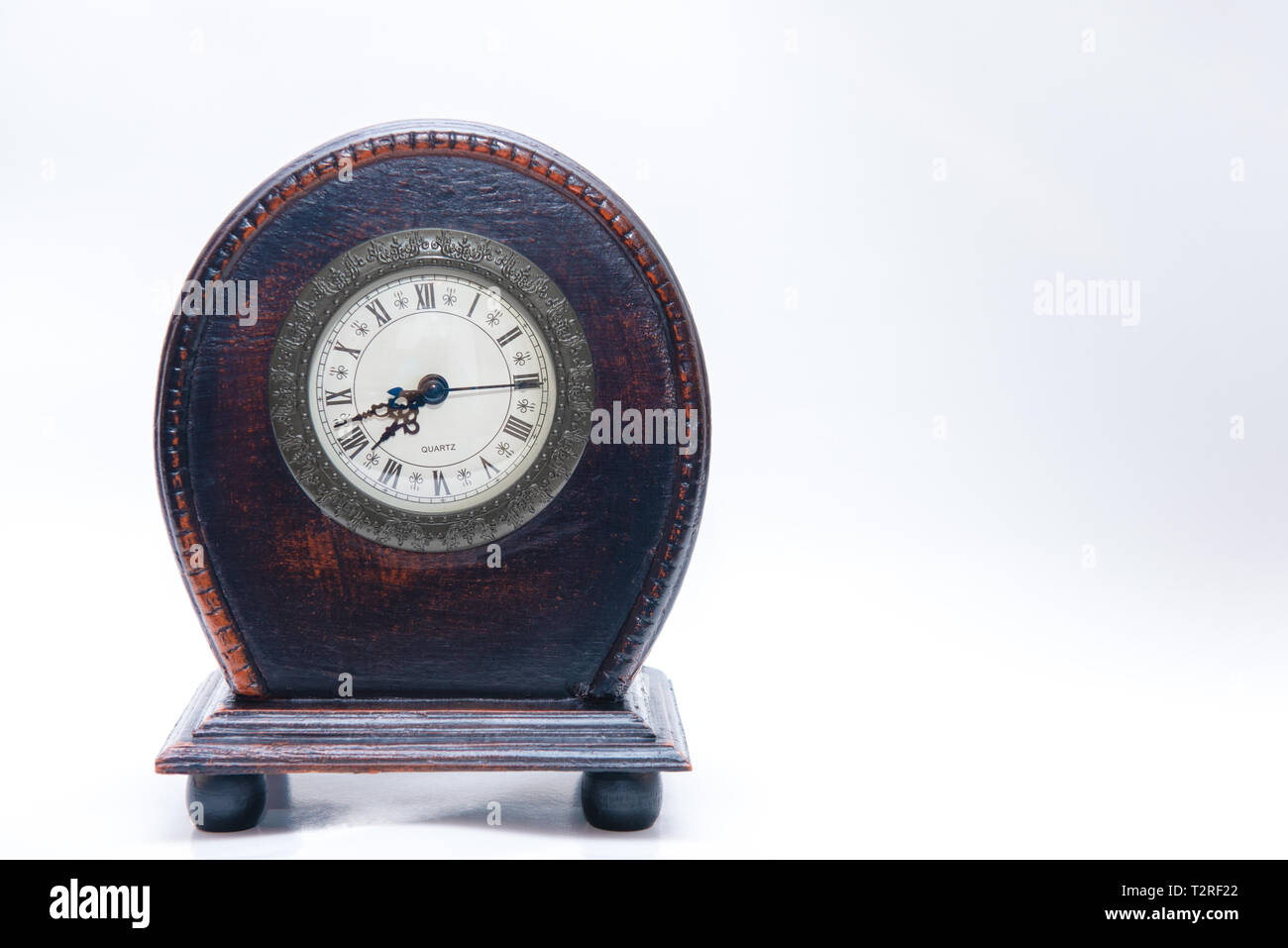 old wooden clock - Stock Image