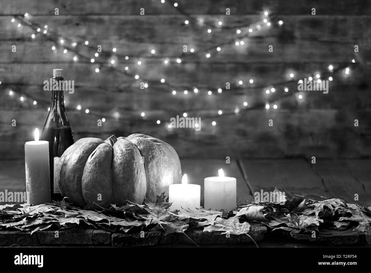 Happy Thanksgiving Day Background Wooden Table Decorated With Pumpkin Wine Candles Autumn Leaves Garland Copy Space Halloween Autumn Festival Stock Photo Alamy
