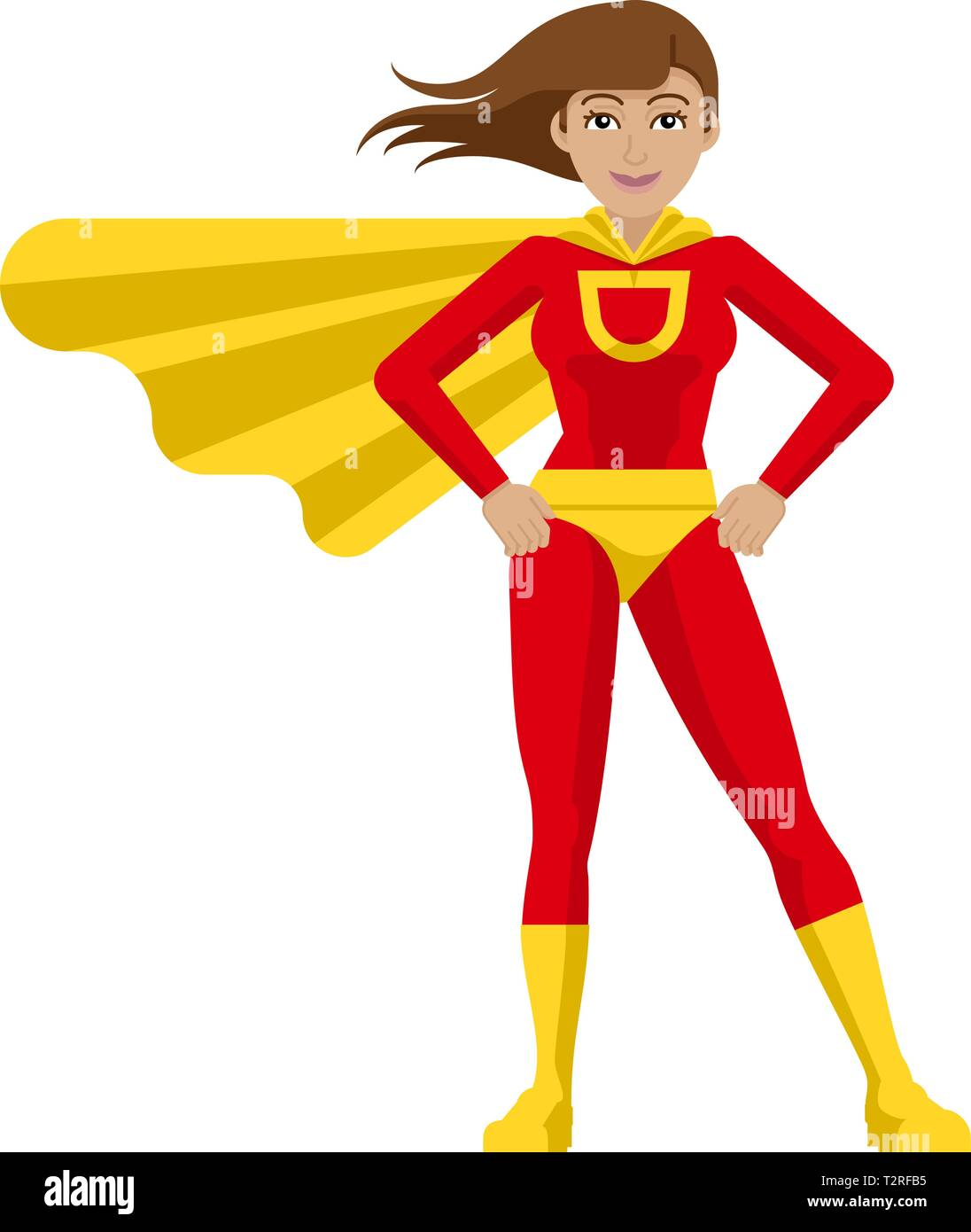 A superhero cartoon mascot woman in her red and yellow super hero costume compete with cape in a flat modern cartoon style - Stock Image