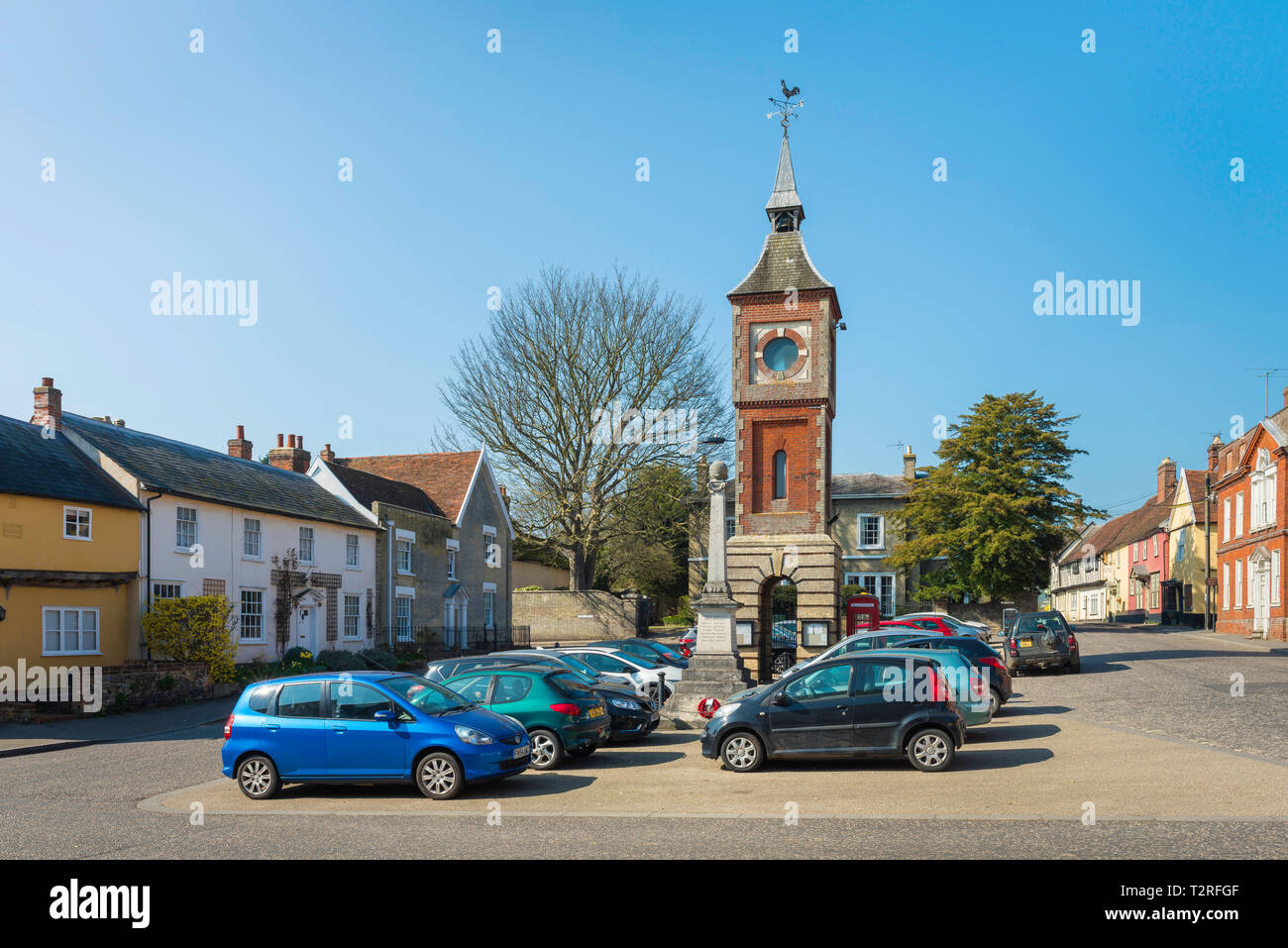 Bildeston Suffolk UK, view of Market Place in the centre of the village of Bildeston, Babergh district, Suffolk, England, UK - Stock Image