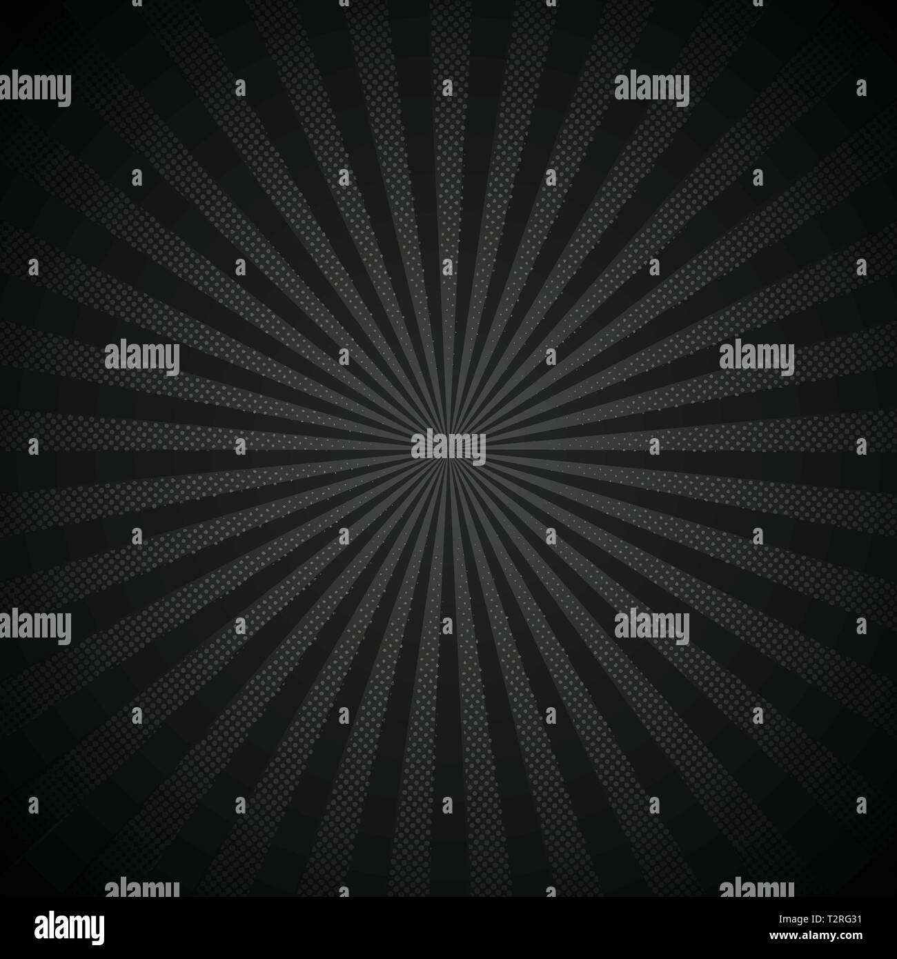 Absrtract retro shiny starburst black background with dots pattern texture halftone style. Vintage rays backdrop, boom, comic. Cartoon pop art templat - Stock Image