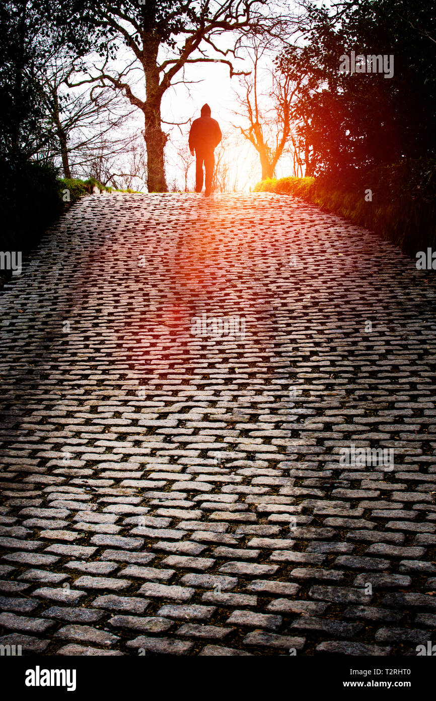 Hooded man at end of cobbled drive Stock Photo