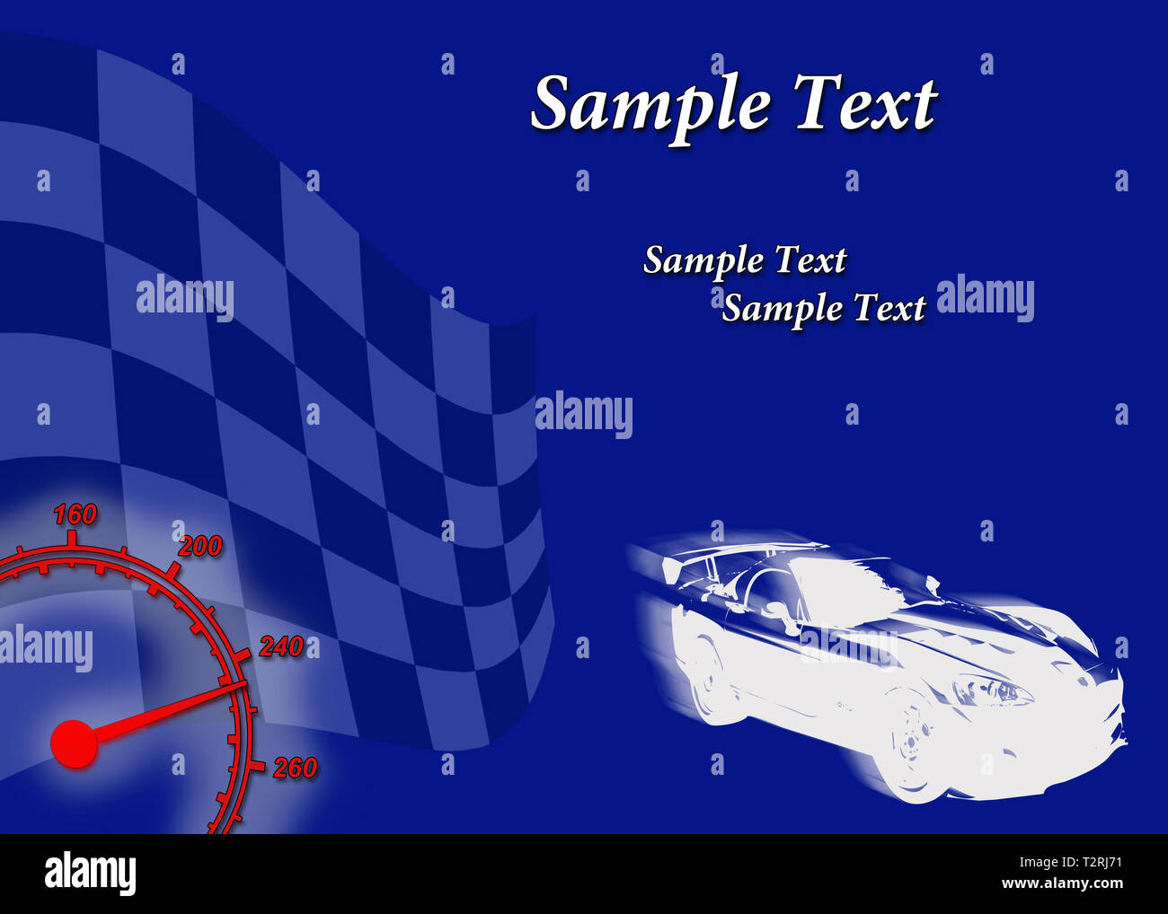 A racing car against a background with a finish flag. Suitable for flyers and banners. - Stock Image