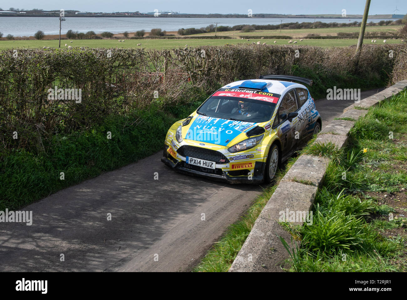 Alex Laffrey in his Ford Fiesta R5 driving into second place overall in The Legend Fires North West Stages Rally 2019 - Stock Image