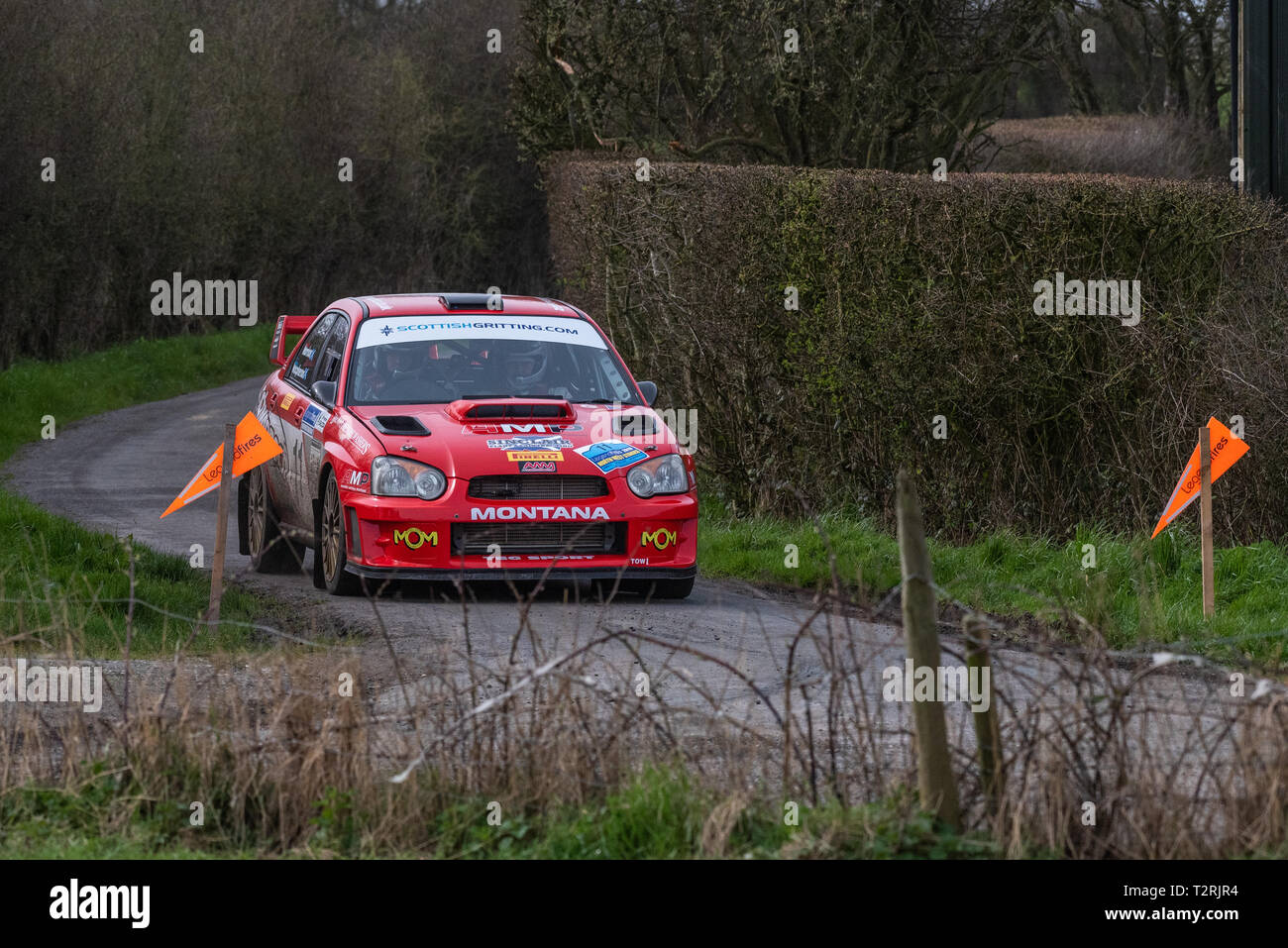 Gordon Morrison and his co-driver Callum Macpherson in their Subaru Impreza  in New Lane on the Staynall stage of Legend Fires North West Stages Rally - Stock Image