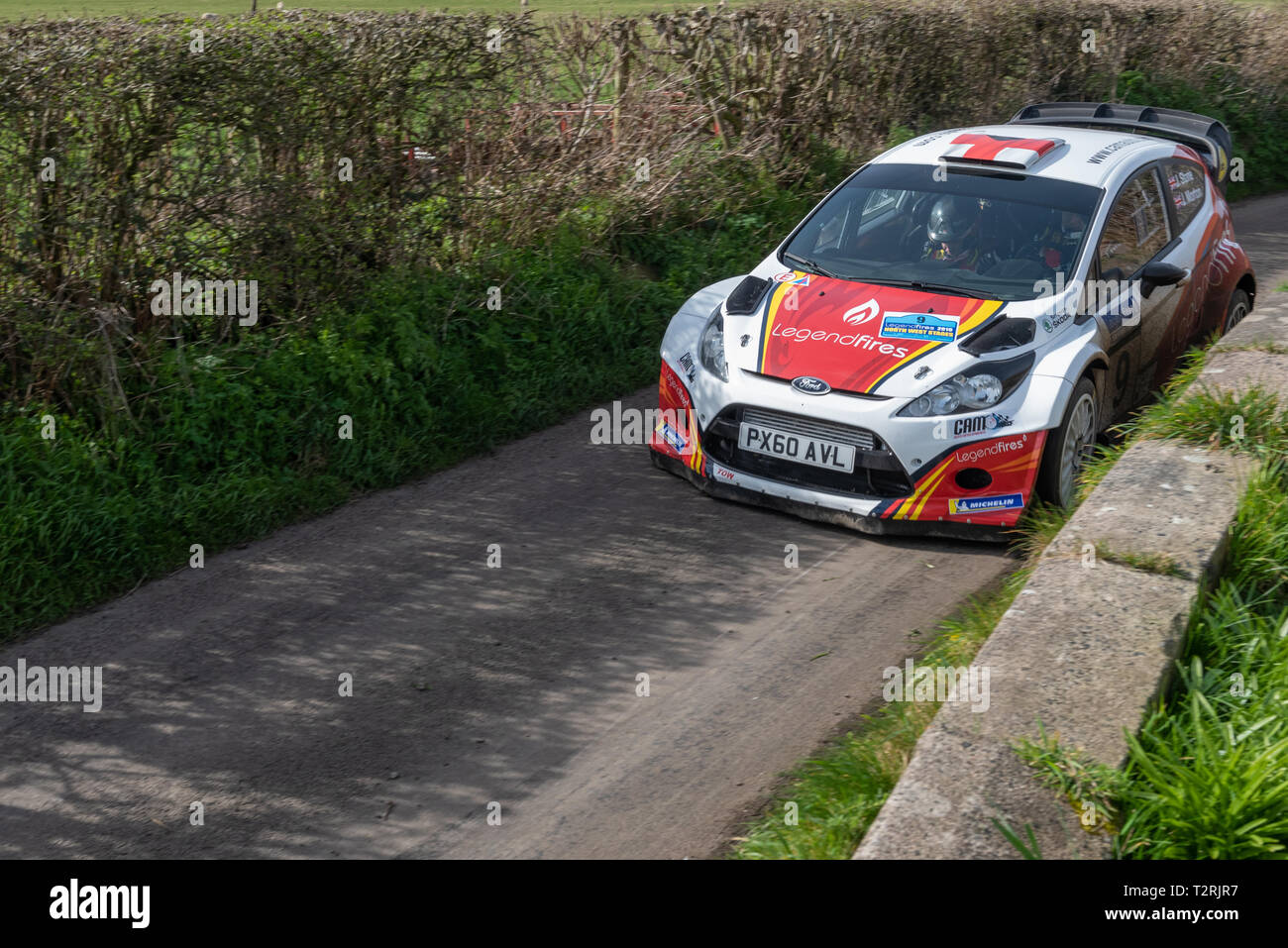 John Stone and his co-driver Jack Morton in their Ford Fiesta WRC at Burrows Lane on the Staynall stage of Legend Fires North West Stages Rally 2 - Stock Image