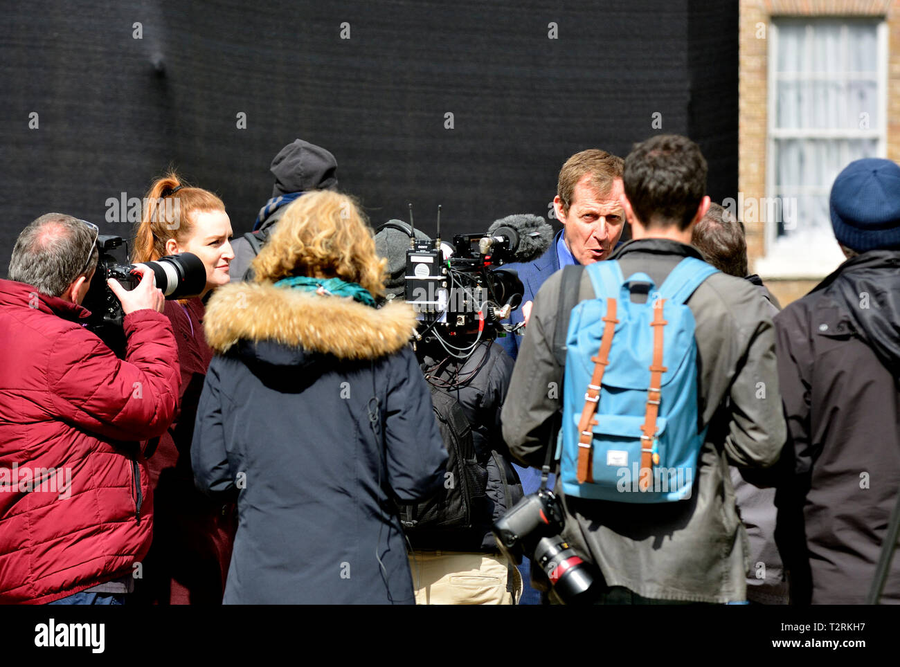 Alastair Campbell - journalist, broadcaster, political aide and author, former Downing Street Press Secretary for Tony Blair. Being interviewed, Colle Stock Photo