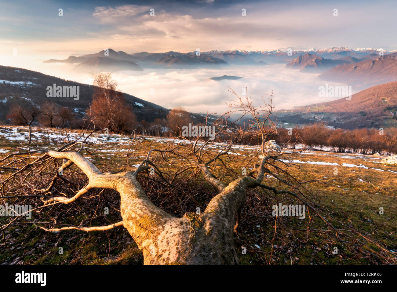 Iseo lake view from Colmi of Sulzano in brescia province, Lombardy district, Europe - Stock Image