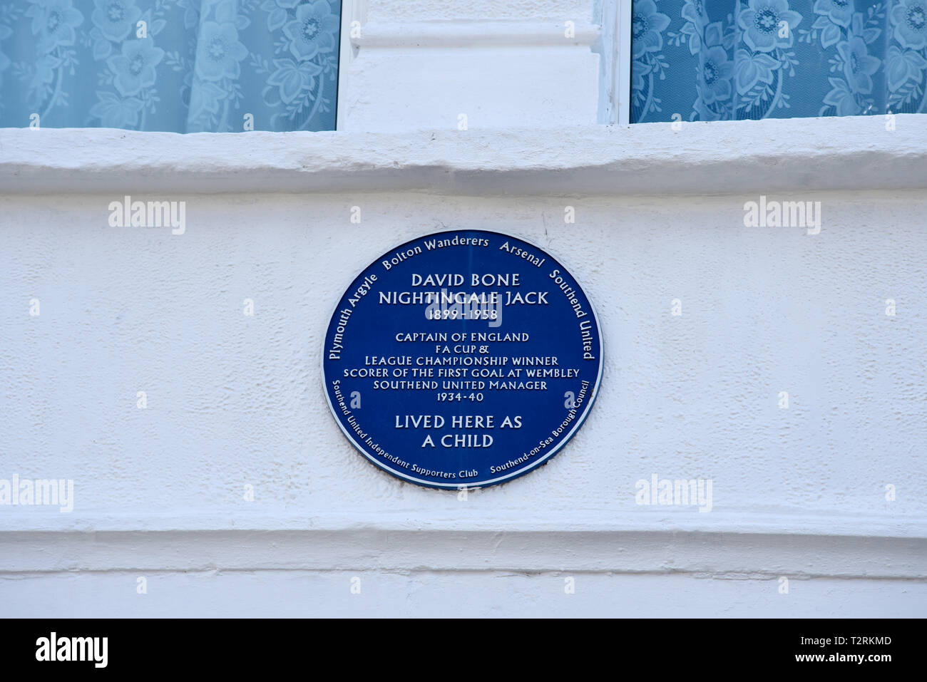 Blue plaque commemorating David Bone Nightingale Jack, England, Plymouth Bolton, Arsenal and Southend football player who scored first goal at Wembley - Stock Image