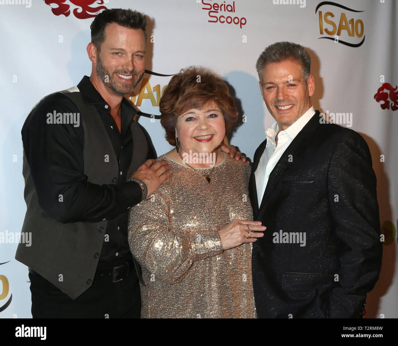 April 3, 2019 - Burbank, CA, USA - LOS ANGELES - APR 3:  Eric Martsolf, Patrika Darbo, Kevin Spirtas at the 10th Indie Series Awards at the Colony Theater on April 3, 2019 in Burbank, CA (Credit Image: © Kay Blake/ZUMA Wire) - Stock Image