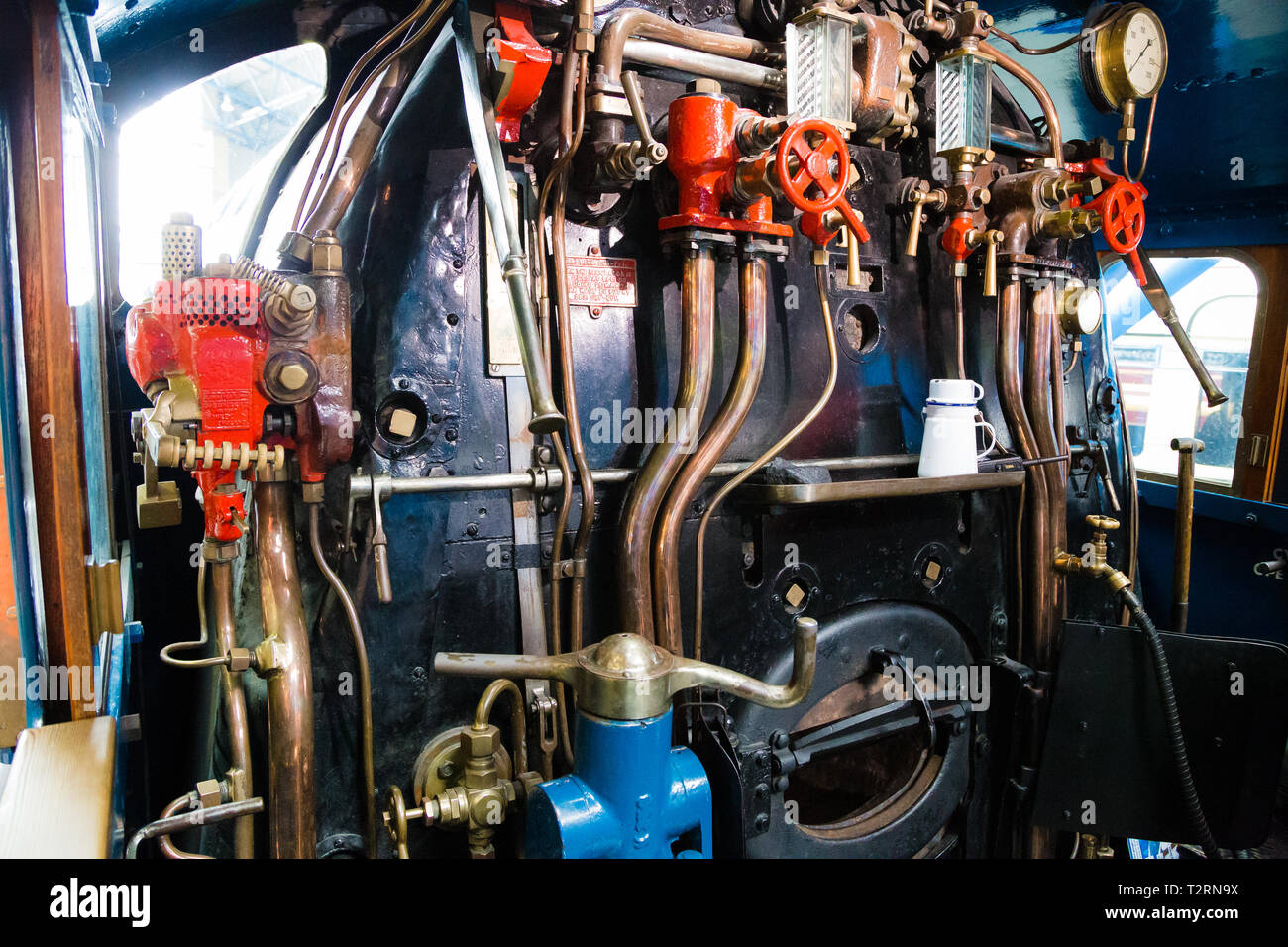 National Railway Museum, York. Footplate view of the Mallard steam locomotive, which has held the record in the past as the fastest steam engine. - Stock Image