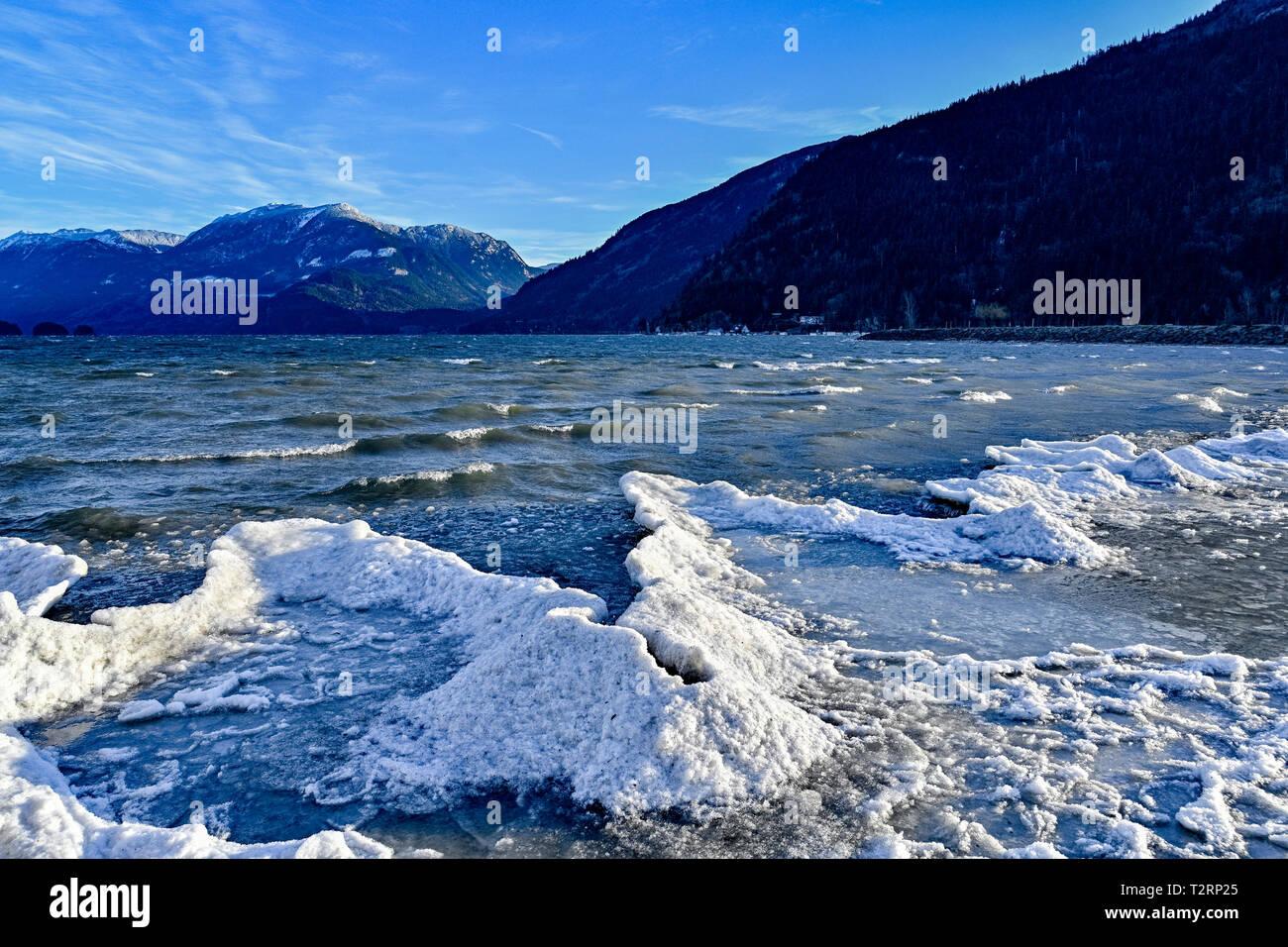 Winter, shoreline ice, Harrison Lake, Harrison Hot Sp