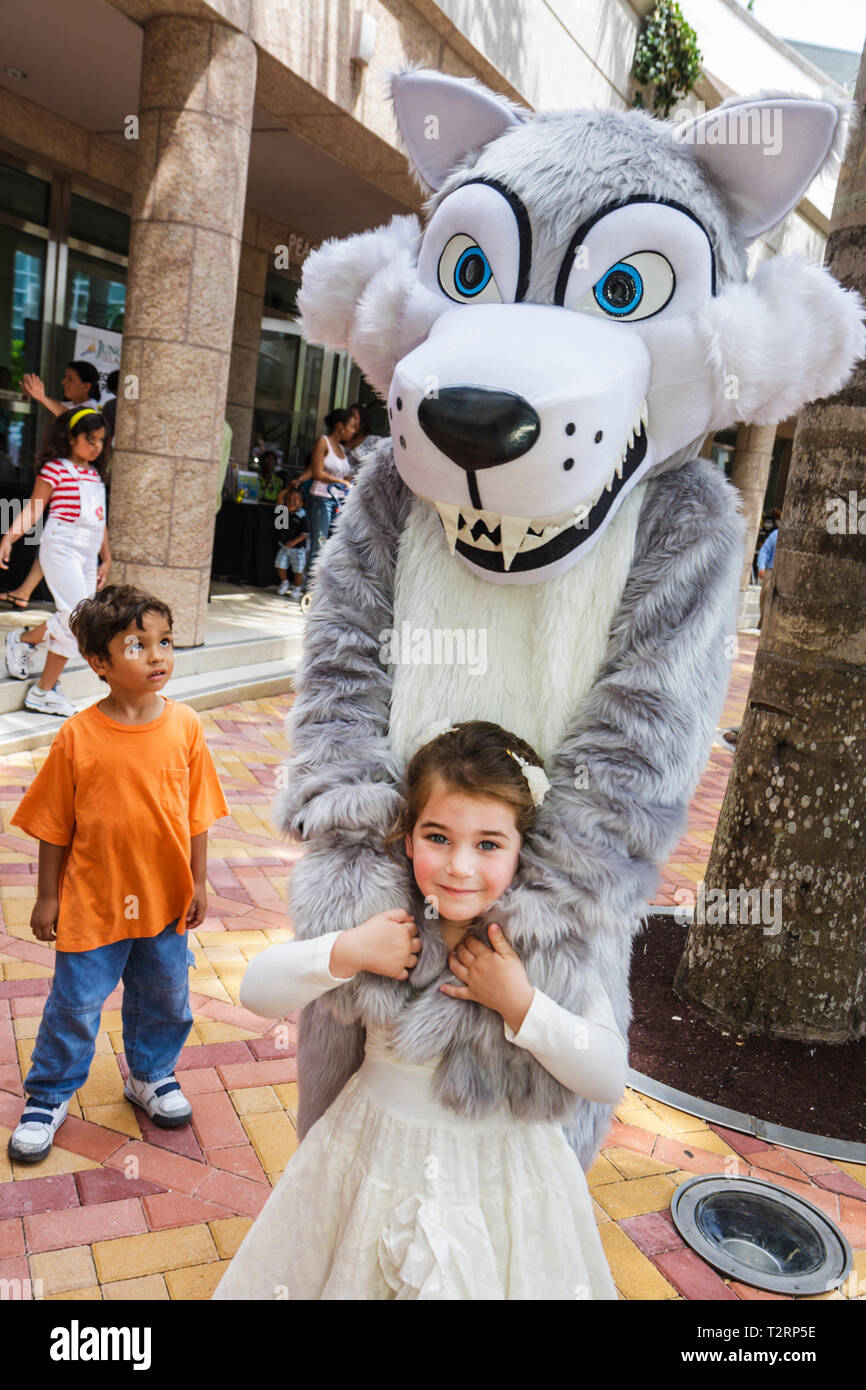 Miami Florida Adrienne Arsht Performing Arts Center centre Family Fest Hispanic boy girl literary character wolf costume make be - Stock Image