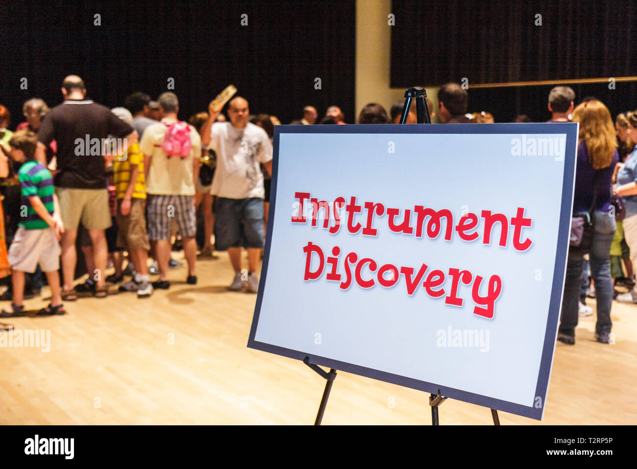 Miami Florida Adrienne Arsht Performing Arts Center centre Family Fest Instrument Discovery music hands on sign art education - Stock Image