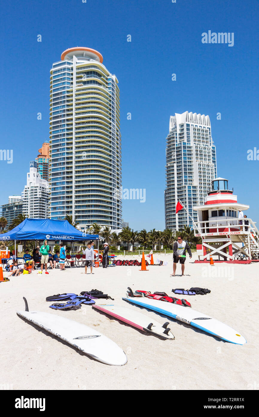 Miami Beach Florida South Beach Atlantic Ocean Recreation Department Surf Camp high functioning autism Aspergers Syndrome PDD-NO - Stock Image