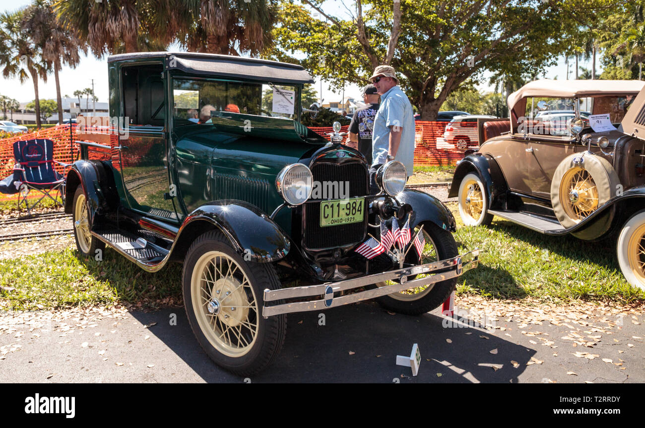 Naples, Florida, USA – March 23,2019: Black 1929 Ford Pickup at the