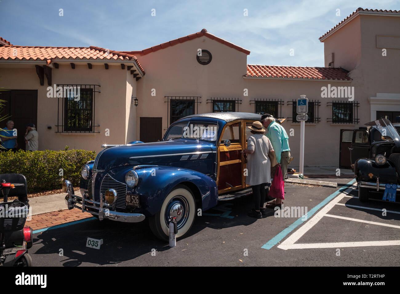 Naples, Florida, USA – March 23,2019: 1940 Pontiac Wagon at the 32nd