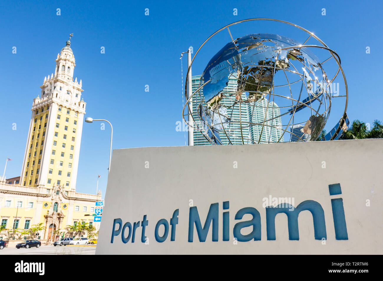 Miami Florida Biscayne Boulevard Freedom Tower architecture Spanish Renaissance Revival Schultze & Weaver built 1925 ornate hist - Stock Image